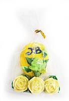 Сахарные фигурки Пасхальное яйцо желтое с розами