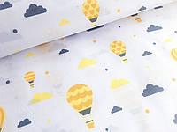 """Польская хлопковая ткань """"шары желтые на белом"""""""