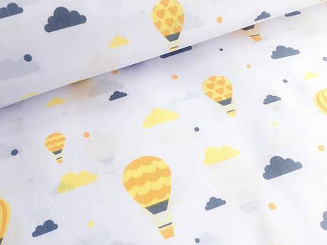 """Польская хлопковая ткань """"шары желтые на белом"""", фото 2"""