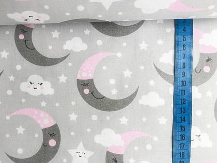 """Польская хлопковая ткань """"месяц на сером с розовыми колпаками"""", фото 2"""