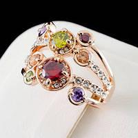 Искусное кольцо с кристаллами Swarovski, покрытое слоями золота 0526
