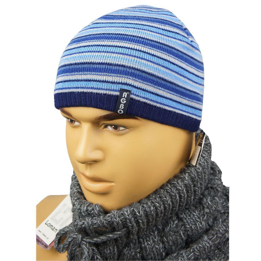Мужская синяя шапка в полоску 050С