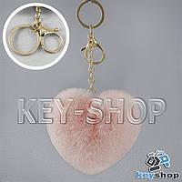 Розовый пушистый меховой брелок сердце, с кольцом и карабином на сумку, рюкзак