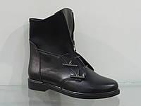 Стильные молодежные ботинки кожаные на байке, фото 1
