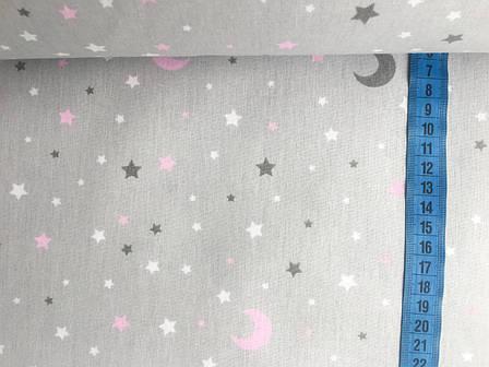 """Польская хлопковая ткань """"месяцы, звезды розовые на сером"""", фото 2"""