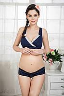 Комплект нижнего белья женского, темно-синее белье для кормящих и беременных, фото 1