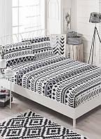 Простынь на резинке с наволочками Eponj Home B&W Artec черно-белая двухспальная евро размер