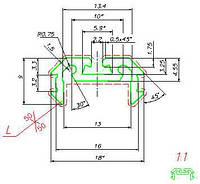 Профиль для LED ленты (2м) универсальный (17,9х9мм) алюминий черный (паз под крепление)