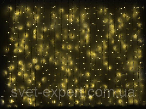 Гірлянда зовнішня DELUX CURTAIN 1520 LED жовта, фото 2