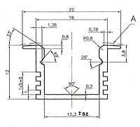Профиль для LED ленты (2м) врезной глубокий (22/16х12мм) алюминий черный