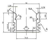 Профиль для LED ленты (2м) накладной мебельный (16х12мм) алюминий черный