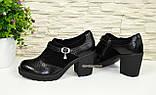 """Женские туфли на невысоком каблуке, натуральная замша и кожа """"питон"""", фото 3"""