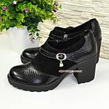 """Женские туфли на невысоком каблуке, натуральная замша и кожа """"питон"""", фото 4"""