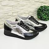 Туфли-кроссовки кожаные женские на утолщенной подошве, серебро/черный цвет, фото 4