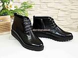 """Ботинки демисезонные женские черные на шнуровке, натуральная кожа """"питон"""", фото 2"""