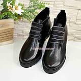 """Ботинки демисезонные женские черные на шнуровке, натуральная кожа """"питон"""", фото 4"""