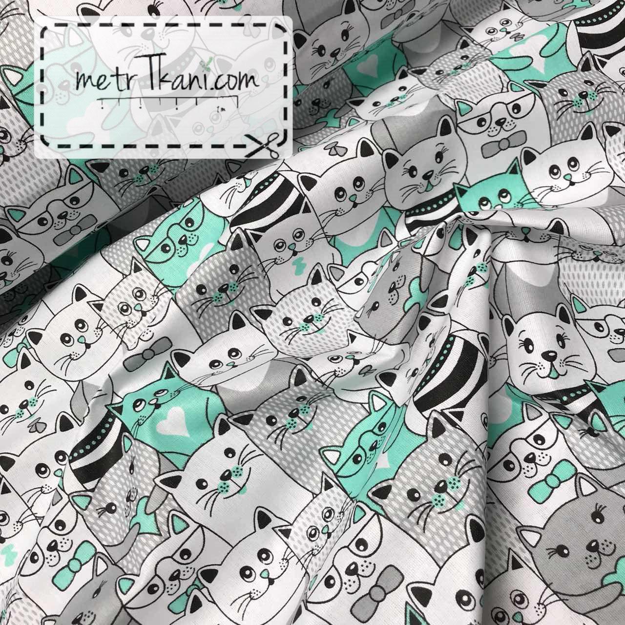 Ткань бязь с мятными и серыми котами №961