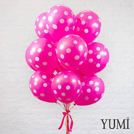 Стильная связка для девушки из 15 шаров с гелием в горох, фото 2