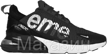 dbb0e072a Мужские спортивные кроссовки Supreme Nike Air Max 270 Black Найк Аир Макс  270 черные, фото