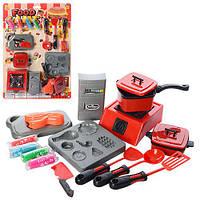 Детская посуда игрушечная плита, продукты, кухонныйнабор, пластилин 4 цвета,на листе