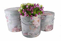 Набір коробок під квіти циліндричні з квітами Francoa, матеріал: картон, тип: коробка, форма: кругла, колір: бузковий, розмір L: 24.5x25.5cm,