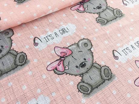 """Ткань хлопковая, муслин однослойный """"мишки GIRL на розовом"""", фото 2"""