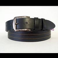 Кожаный джинсовый ремень 40 мм чёрный с коричневой ниткой