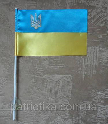 Флажок Украины | Прапорець України 12х18 см атлас, фото 2