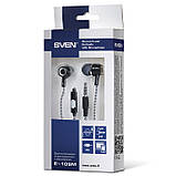 Наушники SVEN E-109M black-grey с микрофоном гарнитура 4pin для смартфона, фото 3