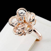 Блестящее кольцо с кристаллами Swarovski, покрытое слоями золота 0652
