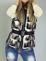 Женский стильный меховой жилет