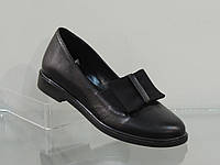 Модные женские кожаные туфли с бантом