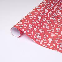 Ретро бумага белые цветы на красном
