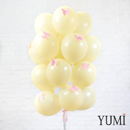 Нежная связка из 20 воздушных гелиевых шаров  на атласных лентах с бабочками, фото 2