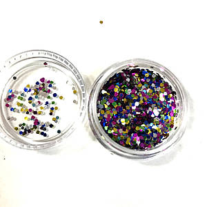 Шестигранники для дизайна ногтей розовые, золотые, синие (мелкие)