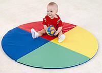 Детский мат для развития Солнышко Размеры - диаметр 120 см высота 3 см , Цвет Red