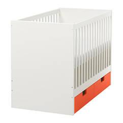 Кроватка детская IKEA STUVA 60x120 см с ящиками оранжевый 291.776.11