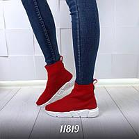 Женские высокие кроссовки красные Balencia