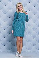 Женское трикотажное платье с кулиской голубое