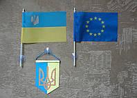 Комплект флажок Украины, Евросоюза и вымпел В-2дк авто, фото 1