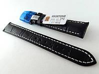 Ремешок Hightone, кожаный, анти-аллергенный, черный со строчкой, фото 1