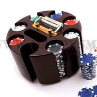 Покер набор на 200 фишек с вращающейся деревянной подставкой — премиум класс
