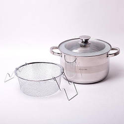 Набор посуды Kamille (кастрюля 6.5л + дуршлаг+крышка) из нержавеющей стали