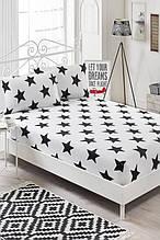 Простынь на резинке с наволочками Eponj Home B&W BigStar черно-белая двухспальная евро размер