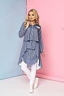 """Стильное женское платье-туника-рубашка многослойное в полоску, длинный рукав """"Марсель"""" 3"""