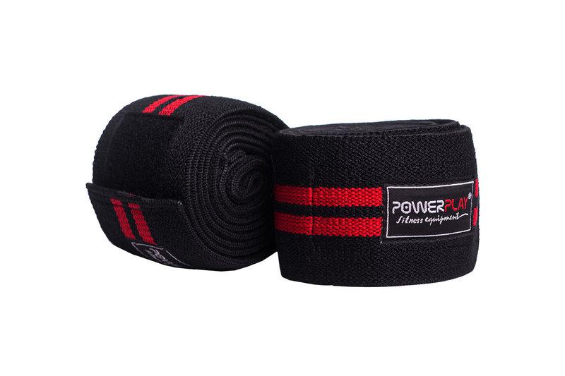 Бинти для колін PowerPlay 2509 Чорно-Червоні