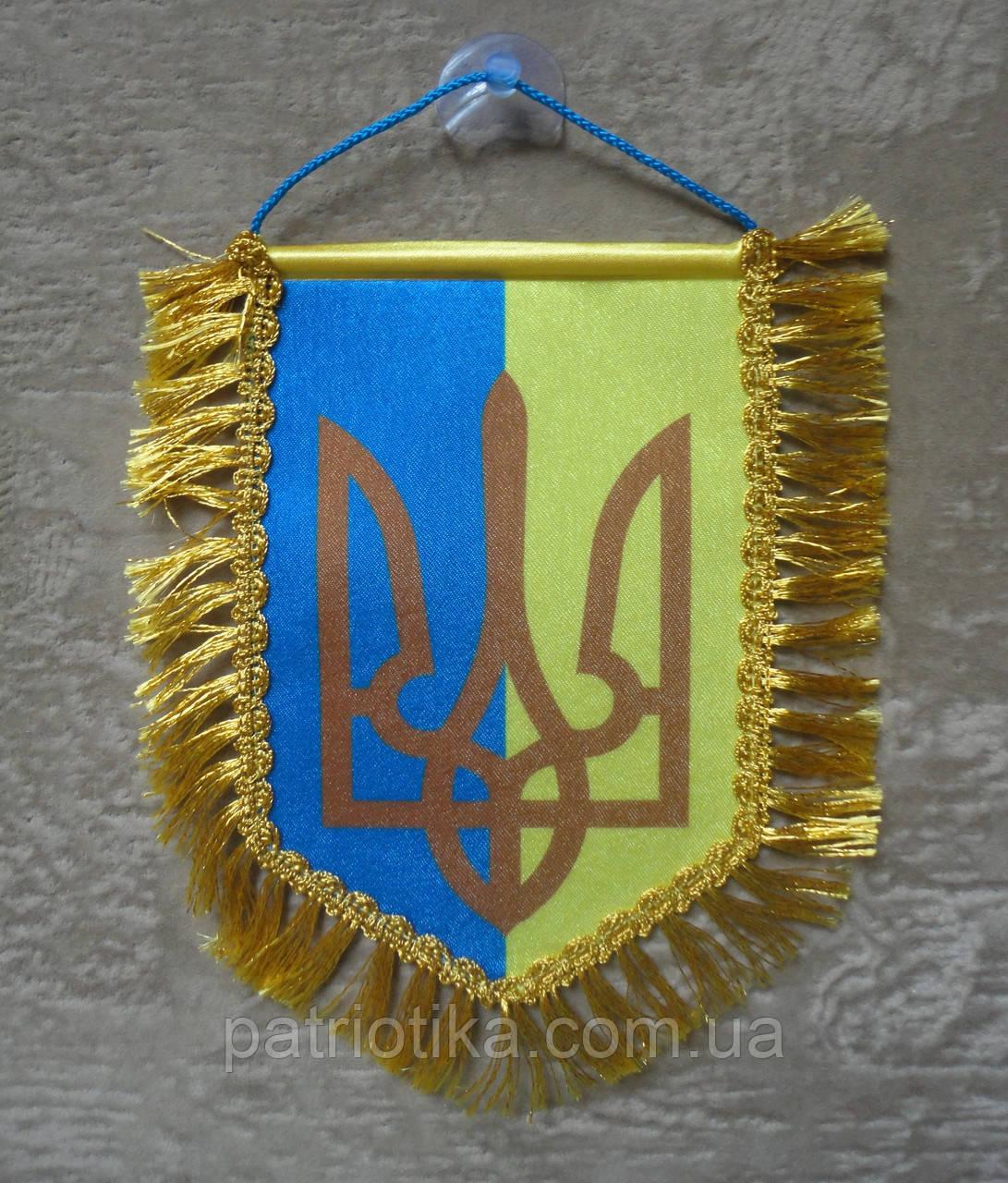 Вимпел України двоколірний | Вимпел України двоколірний 16х11 см з бахромою|з бахромою