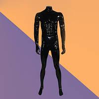 Манекен мужской чёрный без головы глянцевый