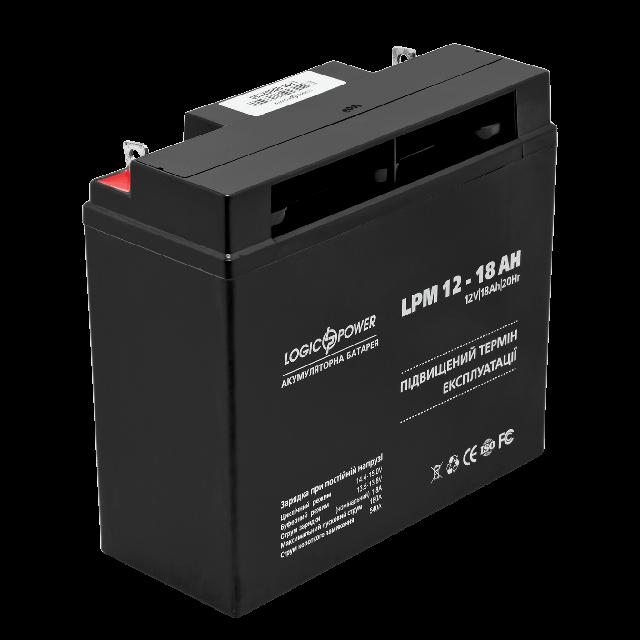 Аккумуляторная батарея LogicPower 12 В - 18 Ач гелевая AGM