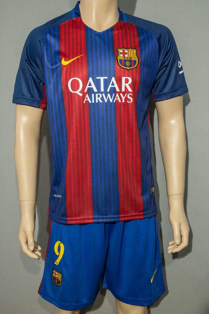 Футбольная форма детская Барселона основная 2016-2017  Суарес (Barcelona Suares) сине-гранатовая (реплика)